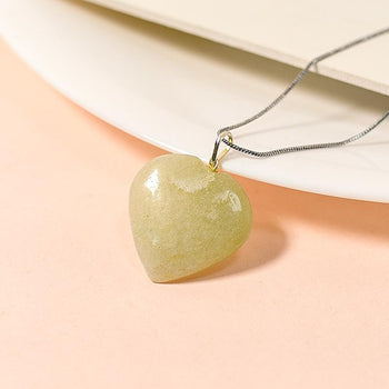 Green Jade Heart Pendant Necklace for Serenity