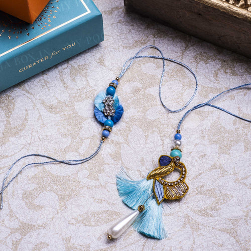 Blushing Blue Bhaiya Bhabhi Rakhi (Set of 2)