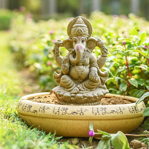 9INCH Eco-Friendly Lotus Ganesha | Plant-A-Ganesha