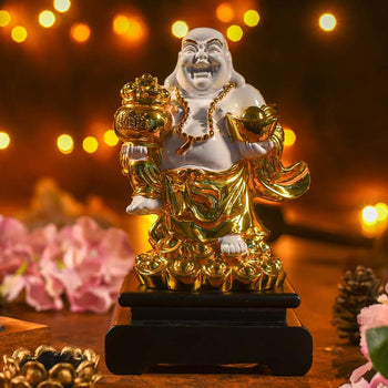 Golden White Laughing Buddha