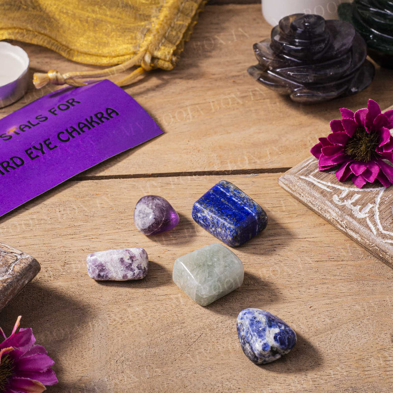Third Eye Chakra Healing Tumble Stone Set