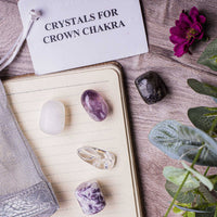 Crown Chakra Crystal Healing Tumble Stone Set