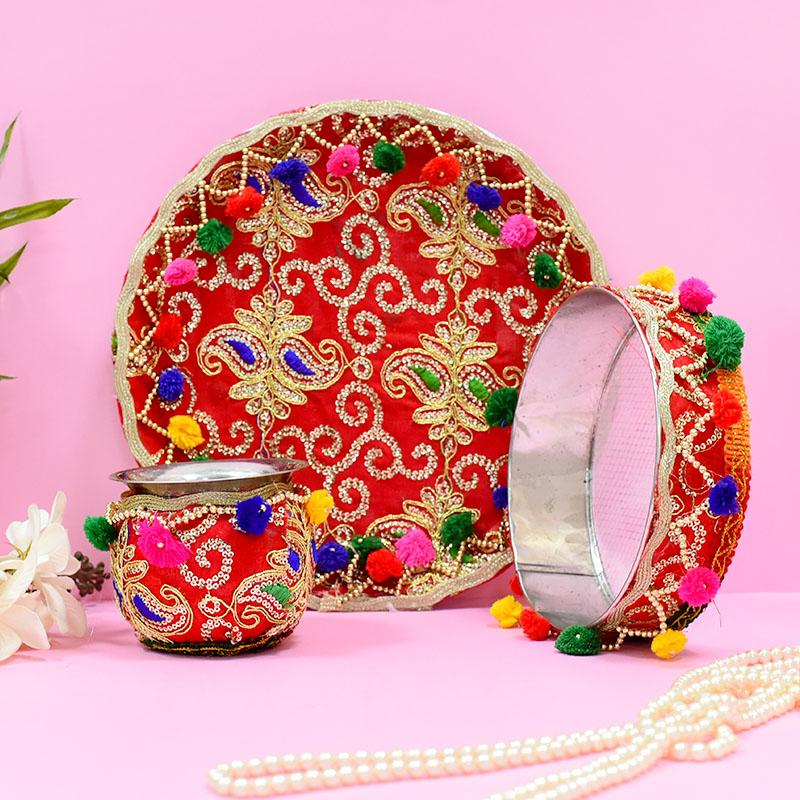 Colourful Embroided Red Karwa Chauth Thali Set