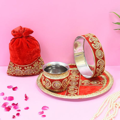 Vibrant Red Golden Embroidery Karwa Chauth Thali set With Potli