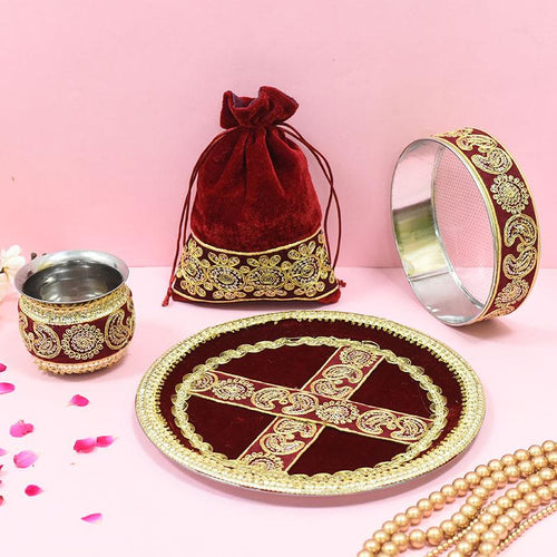 Velvet Maroon Golden Embroidery Karwa Chauth Thali set With Potli