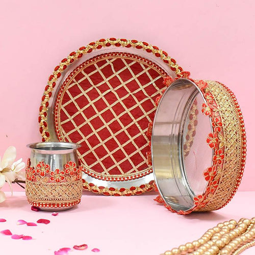 Ruby Red Embroided Karwa Chauth Thali Set