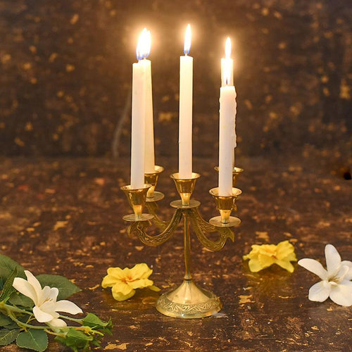 Elegant Brass 5 Arms Candle Holder