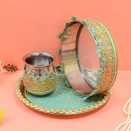 Mint Blue & Golden Lace Karwa Chauth Thali Set