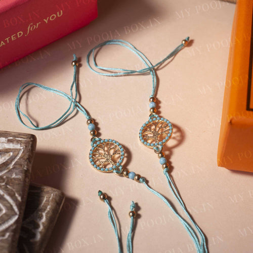 Tree of Life Mint Blue Rakhi (Set of 2)