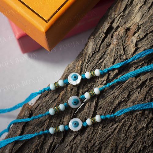 Aqua Blue Evil Eye Rakhi (Set of 3)