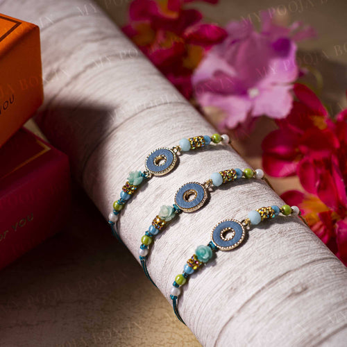 Fancy Golden Ring & Flower Bead Rakhi