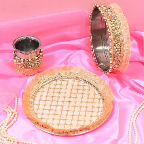 Pretty Peach Beaded Karwa Chauth Thali Set