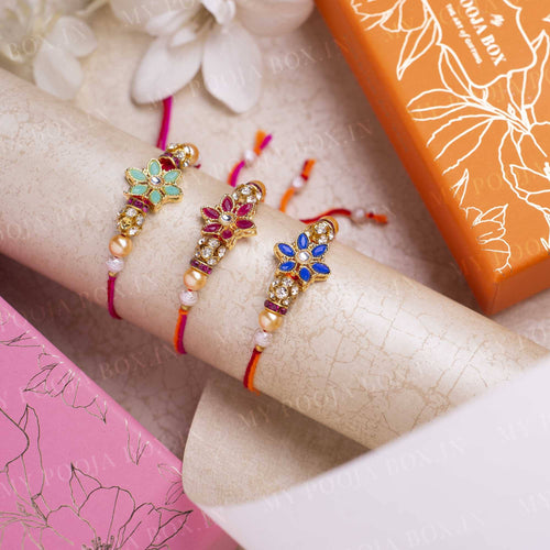 Radiant Flower Rakhi Set of 3