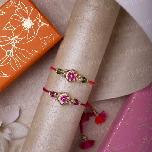 Exquisite Hand Painted Floral Rakhi Set of 2