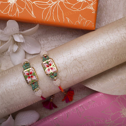 Hand Painted Floral Design Rakhi Set of 2