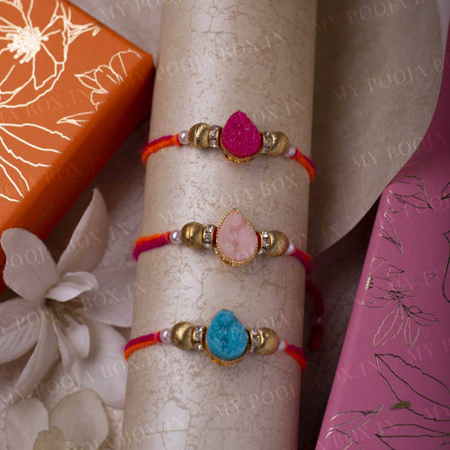 Pristine Drop Shaped Rakhi Set of 3