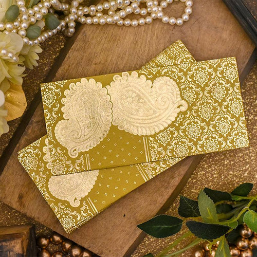 Medallion Yellow Envelope with Paisley Design(Set of 5)