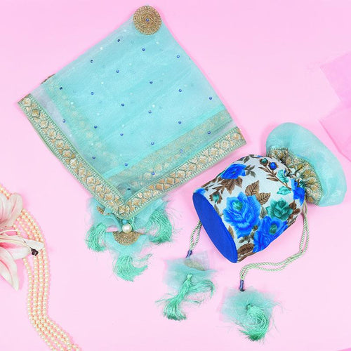 Blissful Blue Potli & Thali Cover Karwa Chauth Set