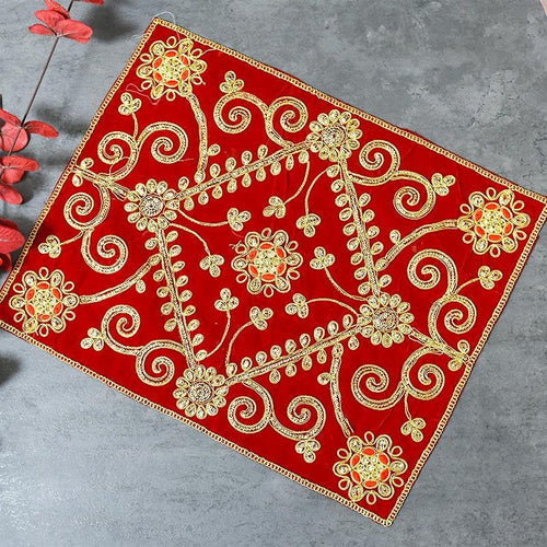 Golden Embroidery Chowki Cover