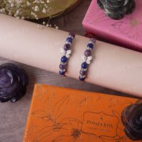 Health & Power Amethyst & Lapiz Lazuli Crystal Rakhi (Set of 2)