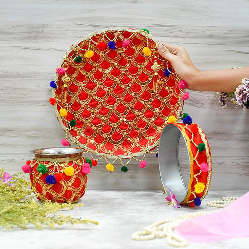 Astonishing Sequence Embroidered Karwa Chauth Thali Set