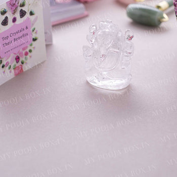 Clear Quartz Gemstone Ganesha Showpiece