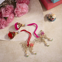 Exquisite Ornate Butterfly Lumba Bhabhii Rakhi (Set of 2)