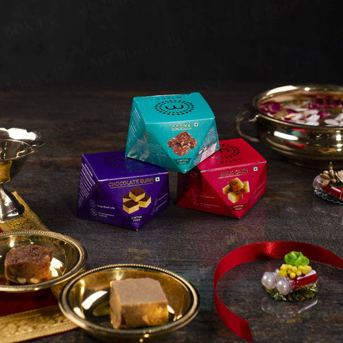 Dodha, Milk Cake & Chocolate Burfi Mithai Set (Small)