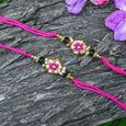 Exquisite Hand-painted Floral Rakhi Set of 2