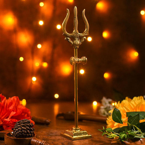 Divine Brass Trishul Showpiece