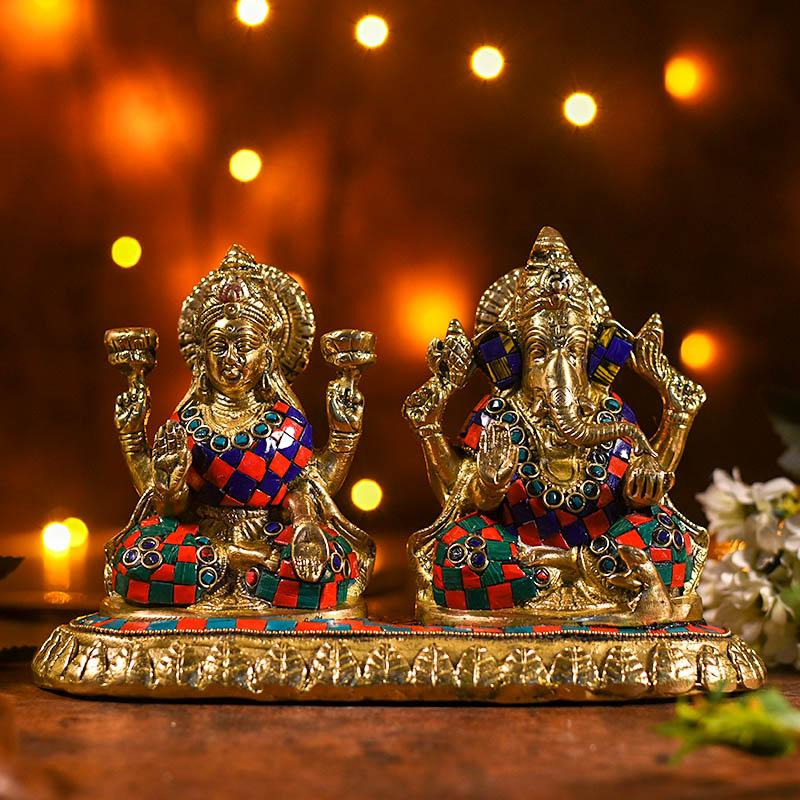Decorative Colourful Brass Laxmi Ganesha