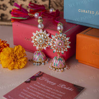 Pastel Meenakari Jhumki Lumba for Sister/Bhabhi (Set of 2)