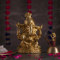 Traditional Brass Pagdi Ganesha