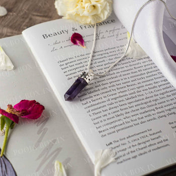Amethyst Pencil Pendant Necklace for Peace