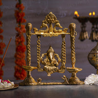 Traditional Brass Jhula Ganesha with Diya