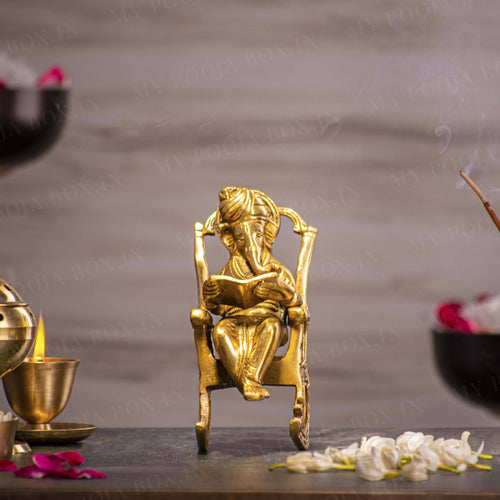 Stylish Brass Rocking Chair Ganesha