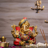 Aesthetic Chip Stone Work Ganesha Statue