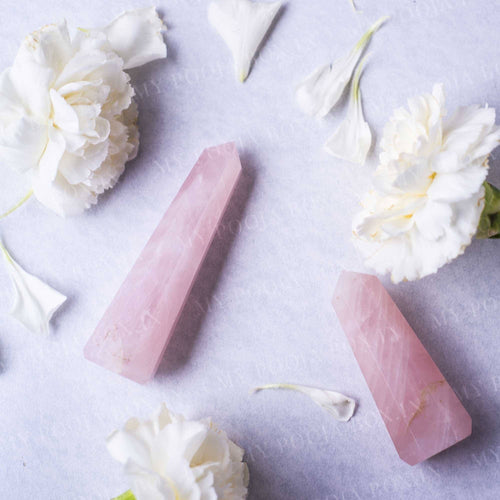 Rose Quartz Tower/Pencil (Set of 2) for Relationship & Calmness