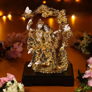 Antique Coral Gold And White Radha Krishna on Jhula