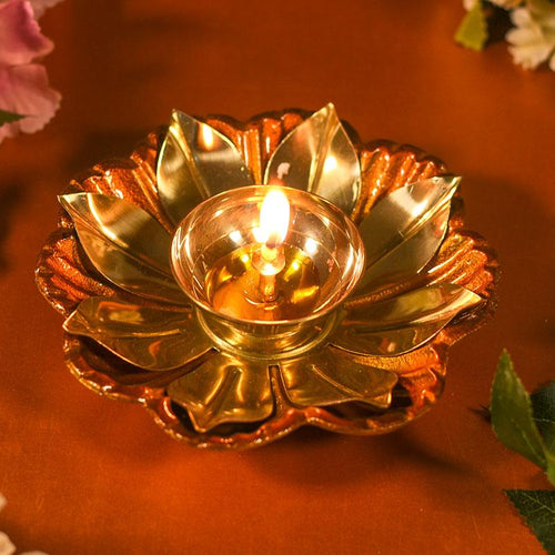 Decorative Lotus Diya Colored Base