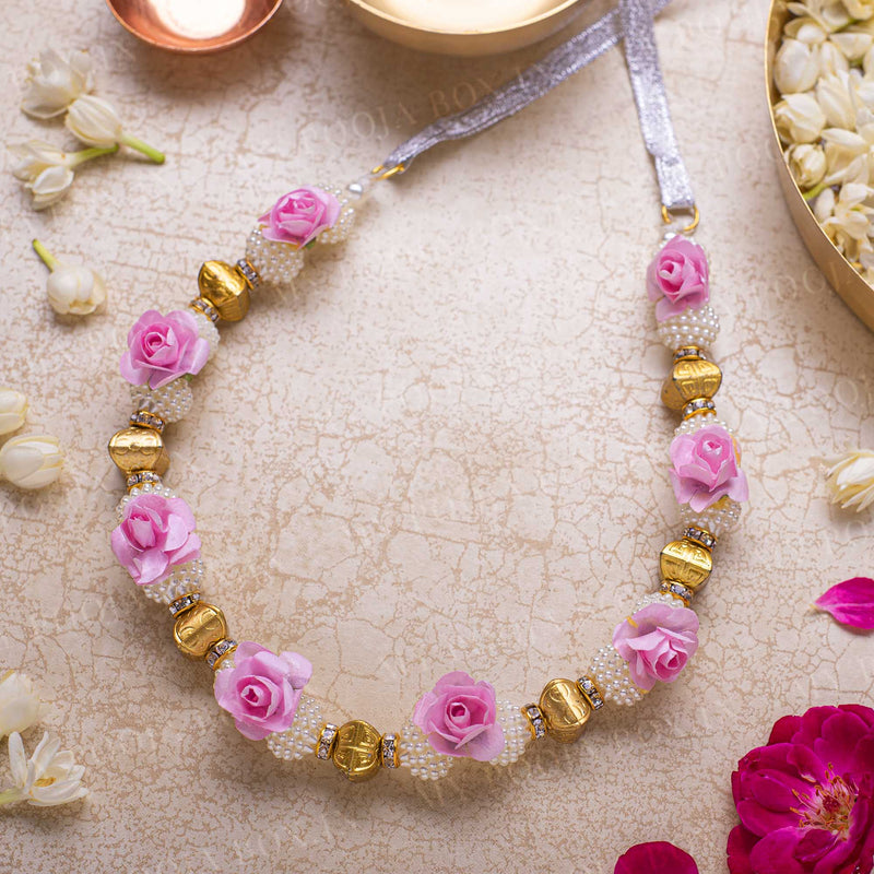 Adjustable Pink Floral Garland/Mala