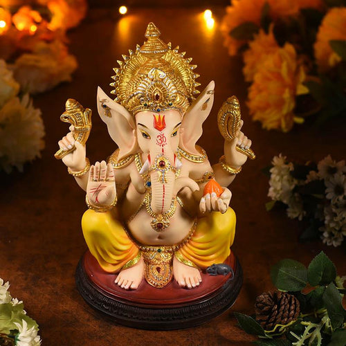 Lord Ganesha Idol On Oval Stand