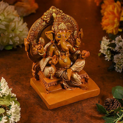 Antique Brown Ganesha On Singhasan