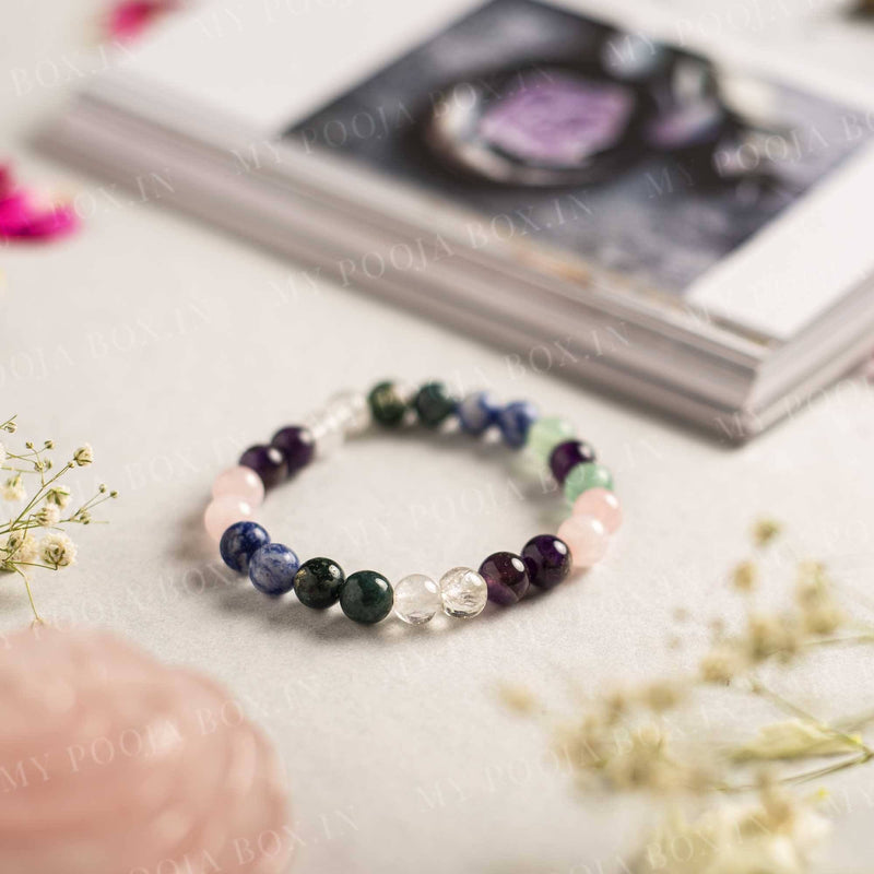 Education Crystal Healing Bracelet | Rose Quartz, Amethyst, Lapiz Lazuli