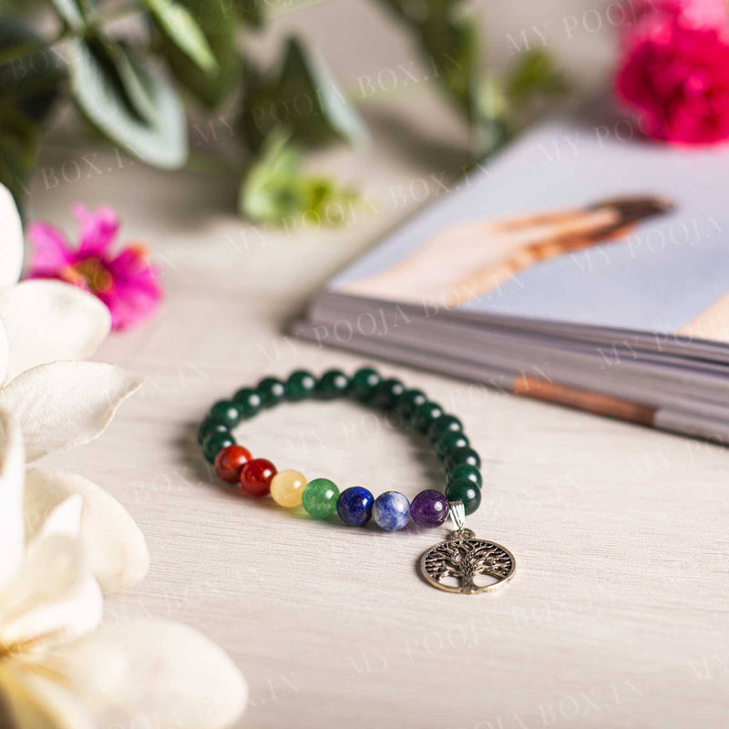 Green Aventurine Bracelet with Tree of Life Charm