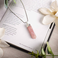 Rose Quartz Pencil Pendant Necklace for Love