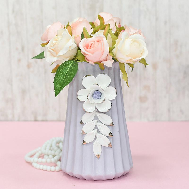 My Pooja Box & Dual Tone Pearl White Flower Vase