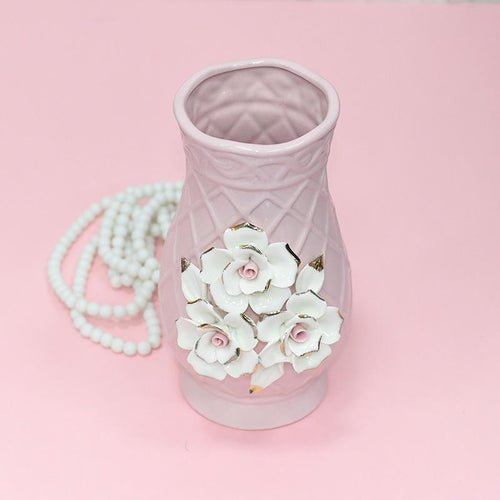 Crystal Pink Vase With White Roses