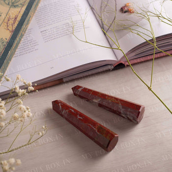 Red Jasper Crystal Healing Tower/Pencil (Set of 2)⎮Stability & Power