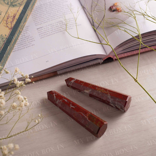 Red Jasper Crystal Healing Tower/Pencil (Set of 2) | Stability & Power
